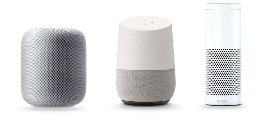 Apple HomePod, Amazon Echo, Google Home
